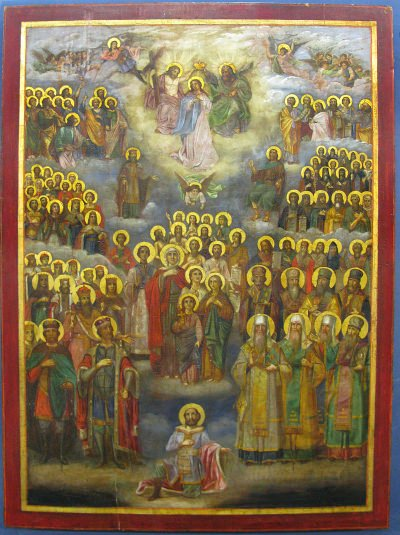 Russian Church Icon - Crowning of the Virgin Mary and All Saints of Russia