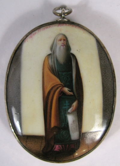Russian Religious Finift Porcelain Placquette of St. Isaac of Dalmatia