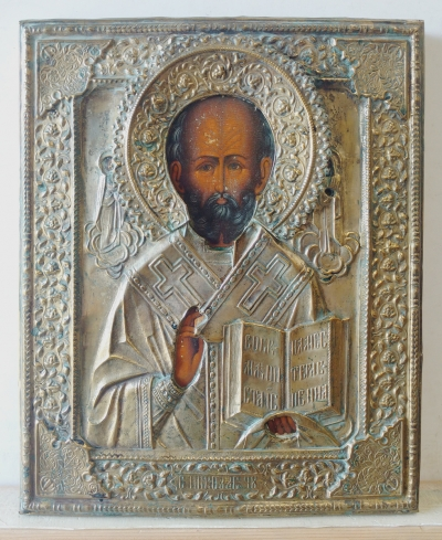 Russian Icon - St. Nicholas of Myra in brass oklad cover
