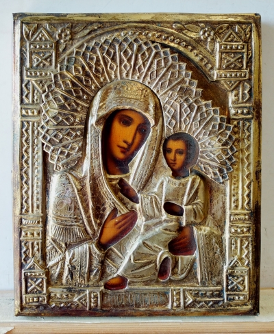 Russian Icon - Our Lady of Tikhvin in brass oklad cover