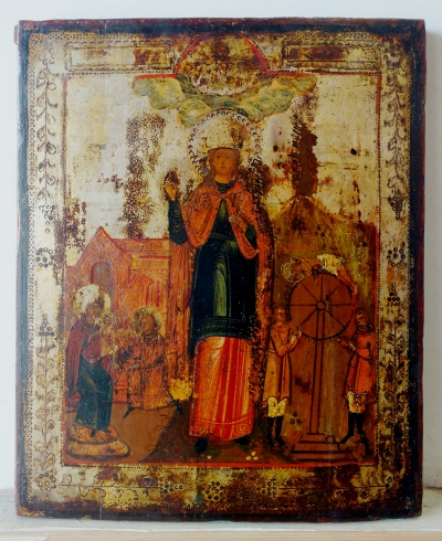 Russian Icon - St Martyr Catherine with Scenes of Her Life and Martyrdom