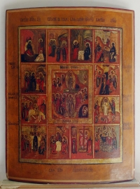 Russian Icon - The Resurrection & Major Orthodox Feasts