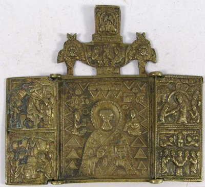 Small Russian Orthodox Russian Orthodox 3-panel folding travel skladen icon depicting Saint Nicholas the Wonderworker of Myra with Great Feasts on side panels