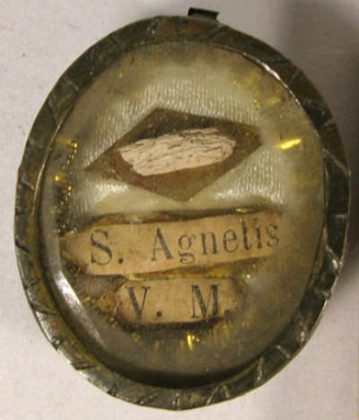 Theca with first-class relics Saint Agnese of Rome