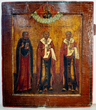 Russian Icon - Three Orthodox Hierarchs: Sts. Basil the Great, Gregory the Theologian, and John Chrysostom