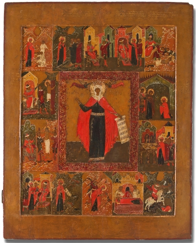 Russian 17th Century Icon - Holy Martyr Paraskevi with Scenes of her Life and Martyrdom