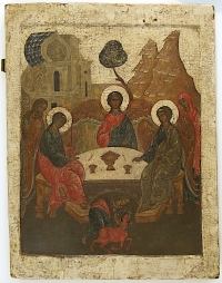16c Russian Icon - Old Testament Trinity (The Hospitality of Abraham)