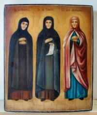 Russian Icon - 3 Female Saints: St. Pelagia of Antioch, St. Tais of Egypt & St. Martyress Mariana