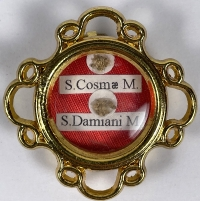 Modern reliquary theca with first-class relics of Saints Cosmas and Damian, Martyrs & Unmercenary Healers