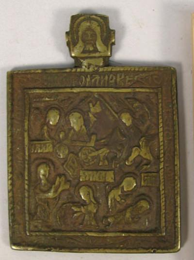 Small Russian pectoral brass plaquette icon depicting Prophet Elijah with scenes of life and fiery ascent into Heavens