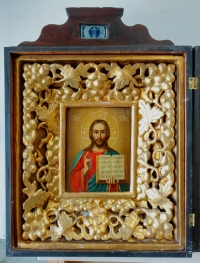 Russian Icon - Christ Pantocrator in kiot shadow frame