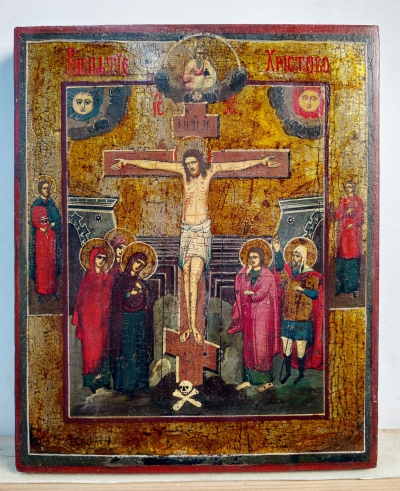 Russian Icon - The Crucifixion of Christ