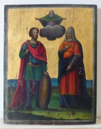Russian icon - Two Orthodox Saints.