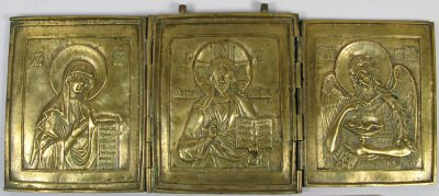 Large fine Russian Orthodox 3-panel folding travel skladen icon depicting Deisis
