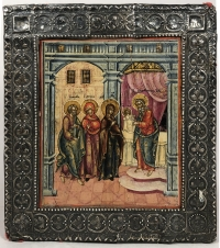 Russian Icon - Presentation of Child Christ to the Temple in silver basma