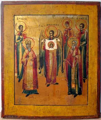 Russian Icon - Saint Michael the Archangel and five selected Saints: Florus and Laurus, Basil the Great, Blais, and Natalia