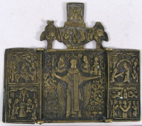 Small Russian Orthodox 3-panel folding travel skladen icon depicting Saint Nicholas of Mozhaisk with Great Feasts on side panels
