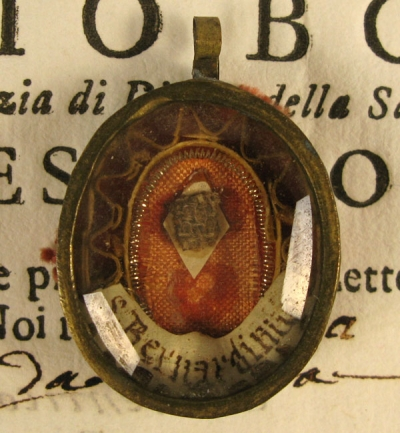 Documented reliquary theca with relics of Saint Bernardino of Siena, Apostle of Italy