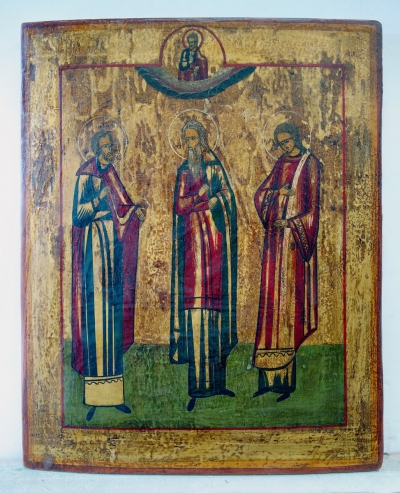 Russian icon - 3 Orthodox Hierarchs: Sts. Basil the Great, Gregory the Theologian, and John Chrysostom