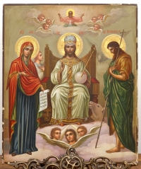 Russian Icon - The Orthodox Deesis with Christ enthroned