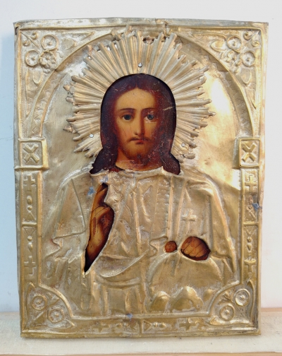 Russian Icon - Christ Pantocrator in brass oklad