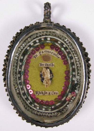 Fancy reliquary theca with relics of St. John Joseph of the Cross