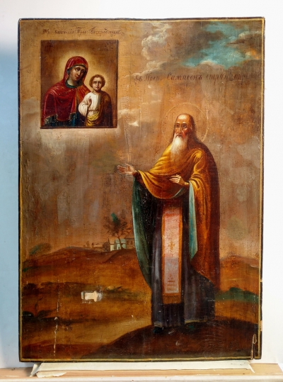 Russian icon - St Venerable Sampson the Hospitable & Miracleworking Madonna