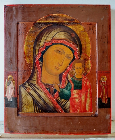 Russian Icon - Our Lady of Kazan with 2 border saints: the Guardian Angel and St. Agrippina of Mineo