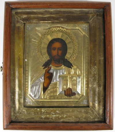 Russian Icon - Christ Pantocrator in brass oklad and kiot shadow frame