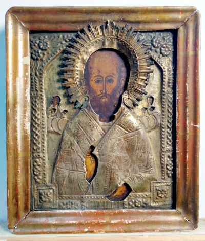 Russian Icon - St. Nicholas the Wonderworker of Myra in brass oklad and kiot frame