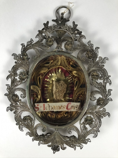 Spectacular theca with first-class relic of St. John the Chrysostom, Doctor of the Church
