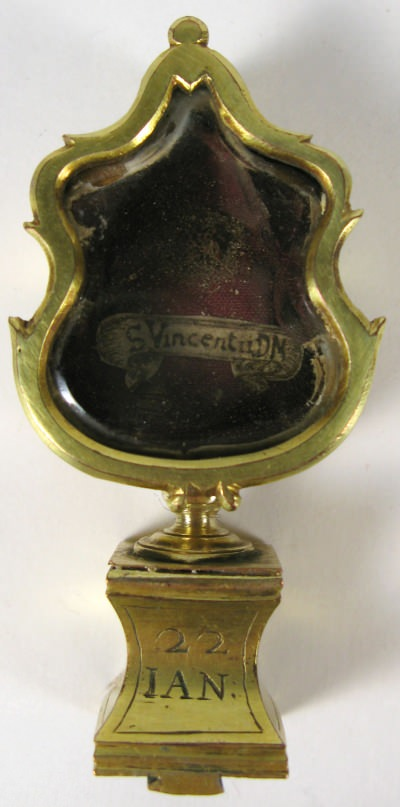 Reliquary with relic of St. Vincent of Saragossa with Cardinal Colonna seal
