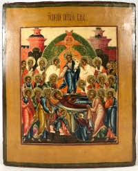 Fine Russian Icon - The Dormition of the Most Holy Mother of God