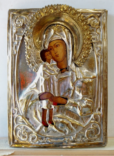 Russian Icon - Seeker for the Perished Mother of God in brass oklad