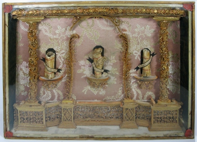Reliquary frame with large relics of 3 Martyrs - St Placidus, St Clarus, & St Cesarius