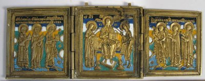 Russian Orthodox 3-Panel Folding Travel Skladen Icon depicting Deisis with Saints