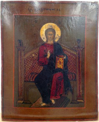 Russian Icon - Christ Pantocrator Enthroned