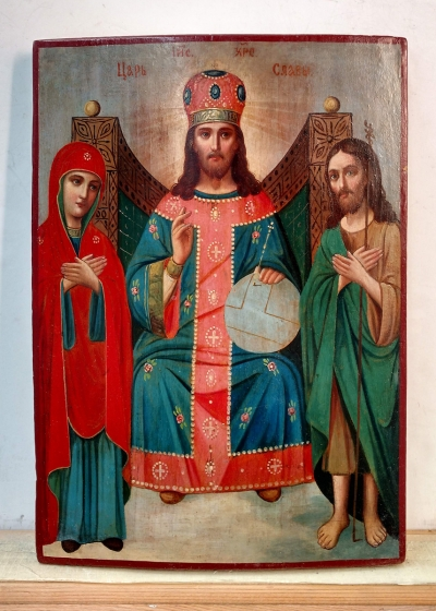 Russian Icon - Christ Enthroned with the Virgin Mary and St. John the Baptist