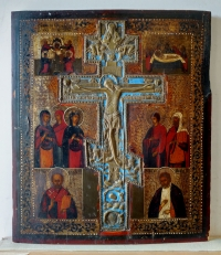 Russian Staurotheke Icon with Crucifixion, Selected Feasts & Saints