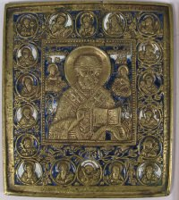 Large Russian brass plaquette icon depicting Saint Nicholas of Myra with Angels and Prophets