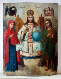 Russian Icon - Christ Enthroned with the Virgin Mary & St John the Baptist
