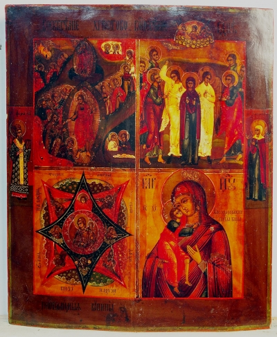 Russian Icon - 4-Panel icon: Descent into the Hades, the Ascension, the Unburnt Bush Madonna and Feodorovskaya Madonna