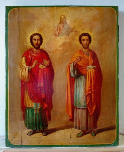Russian Icon - Saint Unmercenary Healers Cosmas & Damianus, patrons of doctors