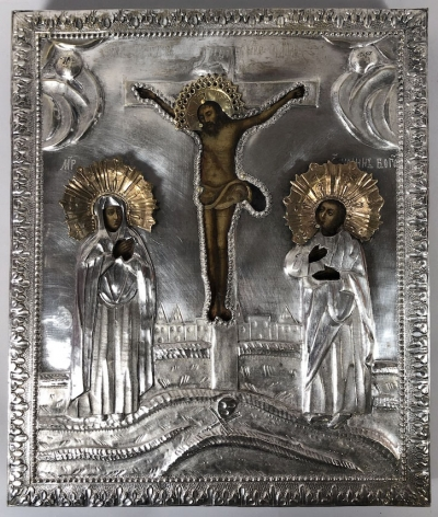 Russian Icon - Crucifixion of Christ in silvered brass revetment cover