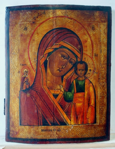 Russian Icon - Our Lady of Kazan with St. Mary, Martyr