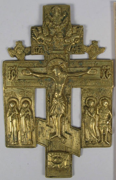 Russian Old Believer's large brass Crucifix kiot cross with mourners and Seraphim