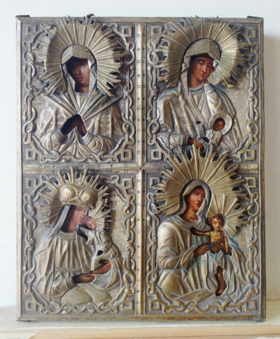Russian Icon - Four Miracleworking Madonnas in brass oklad cover