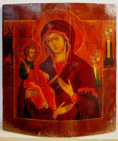 Russian icon - The Three-Handed Mother of God with Sts. John, Basil & Blais