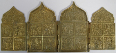 Russian 4-Panel Folding Skladen Travel Icon of The Twelve Principal Feasts and Miracle-working Madonnas