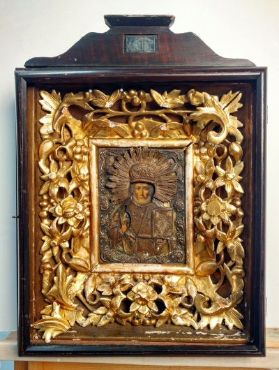 Russian Icon - St. Nicholas the Wonderworker of Myra in brass oklad and kiot